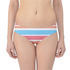 Orange Blue Stripes Hipster Bikini Bottoms by BrightVibesDesign