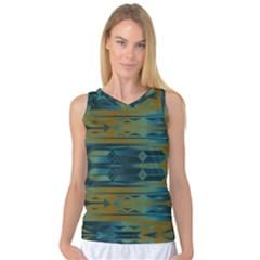Blue green gradient shapes                                       Women s Basketball Tank Top