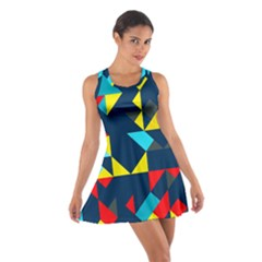 Colorful shapes on a blue background                                        Cotton Racerback Dress by LalyLauraFLM