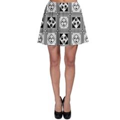 Black And White Skater Skirt by FunkyPatterns