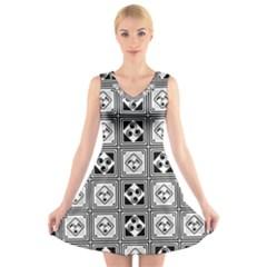 Black And White V Neck Sleeveless Skater Dress by FunkyPatterns
