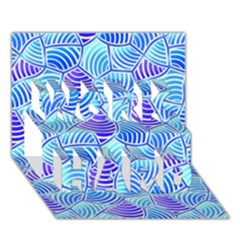 Blue And Purple Glowing WORK HARD 3D Greeting Card (7x5)  by FunkyPatterns