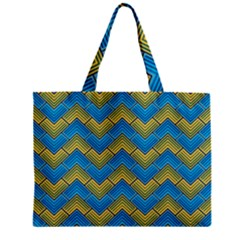 Blue And Yellow Zipper Mini Tote Bag by FunkyPatterns