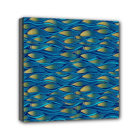 Blue Waves Mini Canvas 6  X 6  by FunkyPatterns