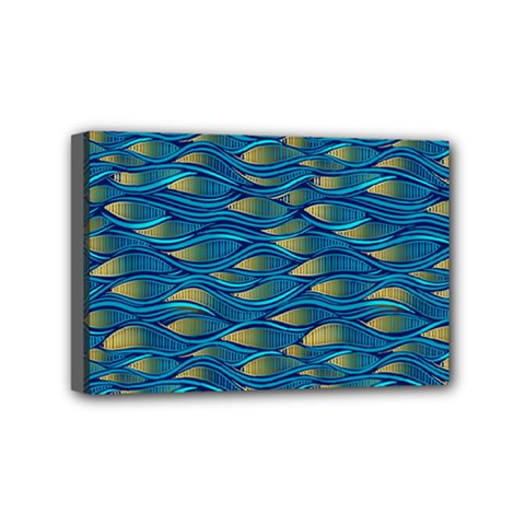 Blue Waves Mini Canvas 6  X 4  by FunkyPatterns