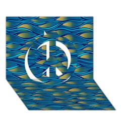 Blue Waves Peace Sign 3d Greeting Card (7x5)  by FunkyPatterns