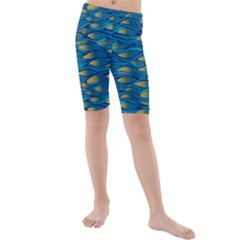 Blue Waves Kid s Mid Length Swim Shorts by FunkyPatterns