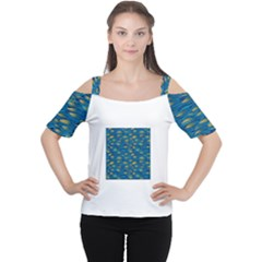 Blue Waves Women s Cutout Shoulder Tee by FunkyPatterns