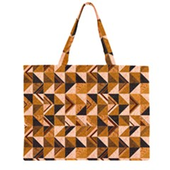 Brown Tiles Zipper Large Tote Bag by FunkyPatterns