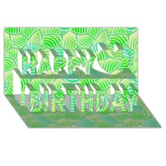 Green Glowing Happy Birthday 3D Greeting Card (8x4)  by FunkyPatterns