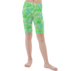 Green Glowing Kid s Mid Length Swim Shorts by FunkyPatterns