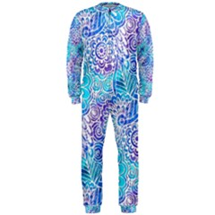 Boho Flower Doodle On Blue Watercolor OnePiece Jumpsuit (Men)  by KirstenStar