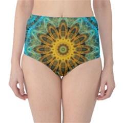 Blue Yellow Ocean Star Flower Mandala High Waist Bikini Bottoms by Zandiepants