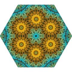 Blue Yellow Ocean Star Flower Mandala Mini Folding Umbrella by Zandiepants