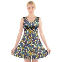 Pastel Tiles V Neck Sleeveless Skater Dress by FunkyPatterns