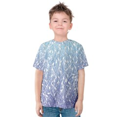 Blue Ombre Feather Pattern, White,  Kid s Cotton Tee by Zandiepants