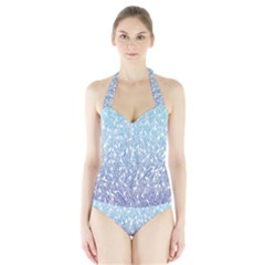 Blue Ombre Feather Pattern, White,  Women s Halter One Piece Swimsuit by Zandiepants