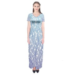 Blue Ombre Feather Pattern, White,  Short Sleeve Maxi Dress by Zandiepants