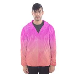 Ombre Pink Orange Hooded Wind Breaker (men) by BrightVibesDesign