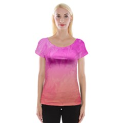 Ombre Pink Orange Women s Cap Sleeve Top by BrightVibesDesign