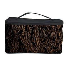 Brown Ombre Feather Pattern, Black, Cosmetic Storage Case by Zandiepants