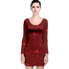Glitter Hearts Long Sleeve Velvet Bodycon Dress