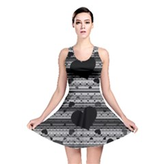 Black and Gray Abstract Hearts Reversible Skater Dress by TRENDYcouture
