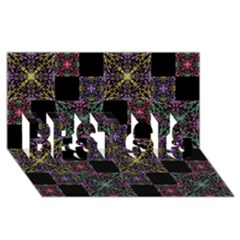Ornate Boho Patchwork Best Sis 3d Greeting Card (8x4)  by dflcprints