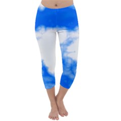 Blue Cloud Capri Winter Leggings  by TRENDYcouture