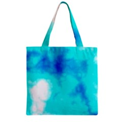 Turquoise Sky  Zipper Grocery Tote Bag by TRENDYcouture