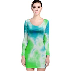Turquoise And Green Clouds Long Sleeve Velvet Bodycon Dress by TRENDYcouture