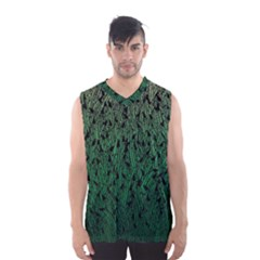 Green Ombre Feather Pattern, Black, Men s Basketball Tank Top by Zandiepants