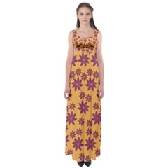 Purple And Yellow Flower Shower Empire Waist Maxi Dress by CircusValleyMall
