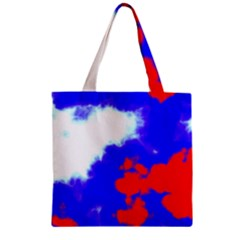 Red White And Blue Sky Zipper Grocery Tote Bag by TRENDYcouture