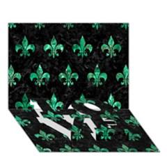 Royal1 Black Marble & Green Marble (r) Love Bottom 3d Greeting Card (7x5) by trendistuff