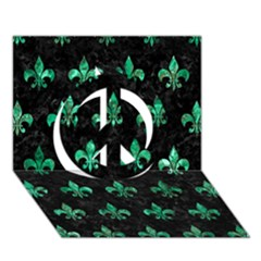 Royal1 Black Marble & Green Marble (r) Peace Sign 3d Greeting Card (7x5) by trendistuff