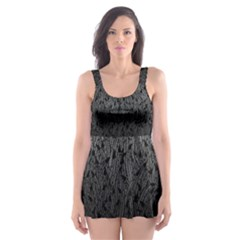 Grey Ombre Feather Pattern, Black, Skater Dress Swimsuit