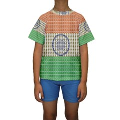 Indian Flag Kid s Short Sleeve Swimwear by cocksoupart