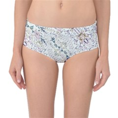Oriental Floral Ornate Mid Waist Bikini Bottoms by dflcprintsclothing