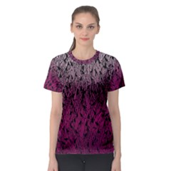 Pink Ombre Feather Pattern, Black, Women s Sport Mesh Tee