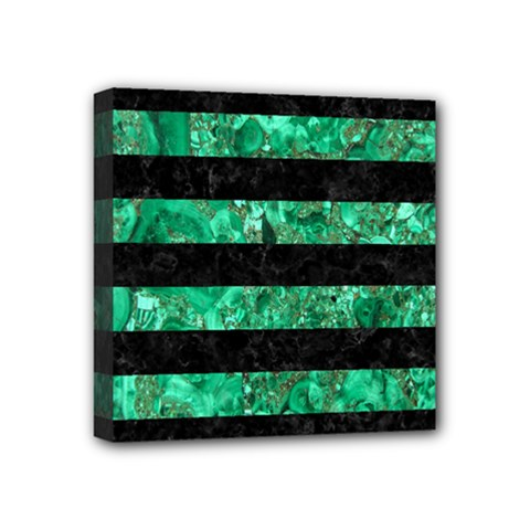 Stripes2 Black Marble & Green Marble Mini Canvas 4  X 4  (stretched) by trendistuff