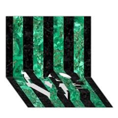 Stripes1 Black Marble & Green Marble Love Bottom 3d Greeting Card (7x5) by trendistuff