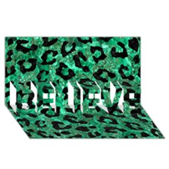 Skin5 Black Marble & Green Marble Believe 3d Greeting Card (8x4) by trendistuff