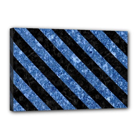 Stripes3 Black Marble & Blue Marble (r) Canvas 18  X 12  (stretched) by trendistuff