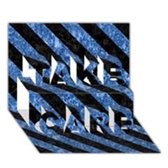 STR3 BK-BL MARBLE (R) TAKE CARE 3D Greeting Card (7x5)  by trendistuff