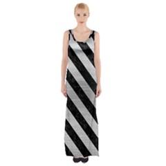 STR3 BK MARBLE SILVER (R) Maxi Thigh Split Dress by trendistuff