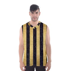 Stripes1 Black Marble & Gold Brushed Metal Men s Basketball Tank Top by trendistuff