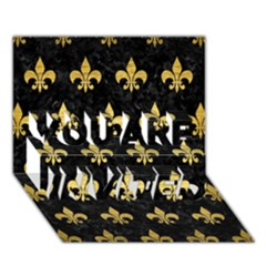 Royal1 Black Marble & Gold Brushed Metal (r) You Are Invited 3d Greeting Card (7x5) by trendistuff