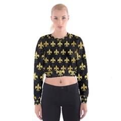 Royal1 Black Marble & Gold Brushed Metal (r) Cropped Sweatshirt by trendistuff