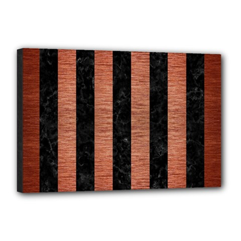 Stripes1 Black Marble & Copper Brushed Metal Canvas 18  X 12  (stretched) by trendistuff